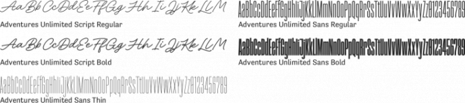 Adventures Unlimited Font Preview