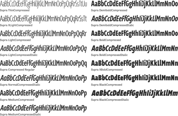 Supra Compressed Font Preview