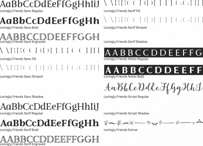 Lovingly Friends Font Preview
