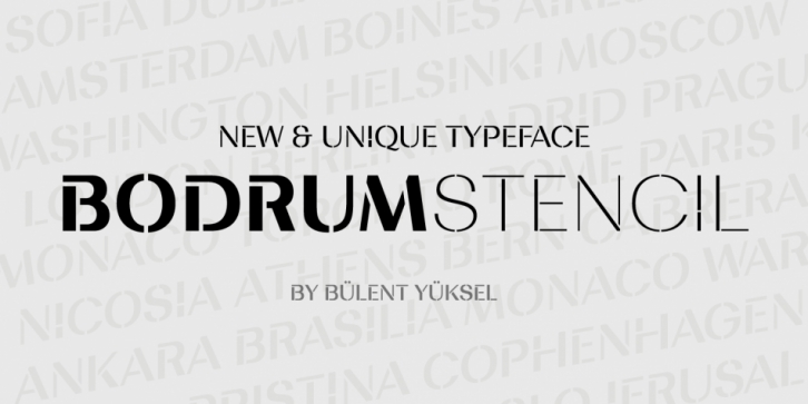 Bodrum Stencil font preview