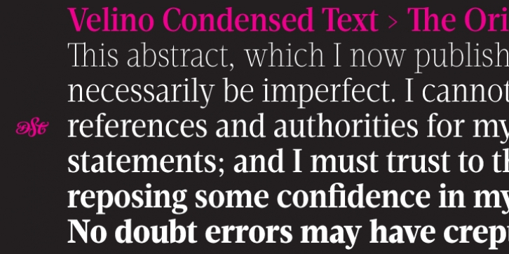 Velino Condensed Text font preview