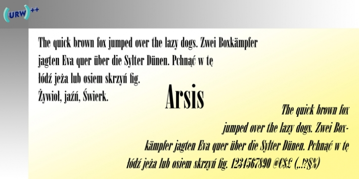 Arsis font preview