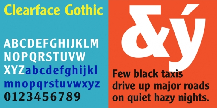 Monotype Clearface Gothic font preview