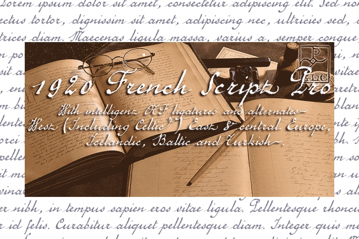 1920 French Script Pro font preview