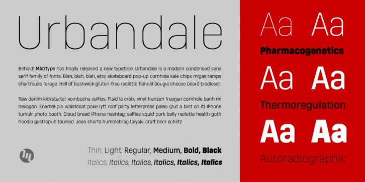 Urbandale font preview