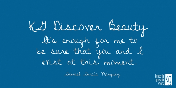 KG Discover Beauty font preview